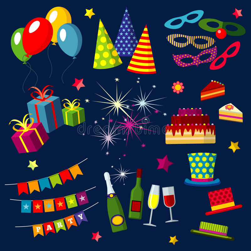 Beröm den lyckliga födelsedagen, partiet, karneval, festliga vektorsymboler ställde in med ballonger, kakan, gåvan, fyrverkerier, royaltyfri illustrationer