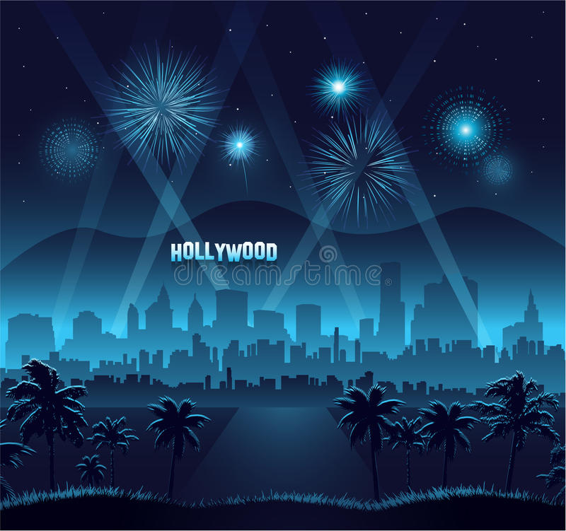 Beröm för bakgrund för Hollywood filmpremiär royaltyfri illustrationer