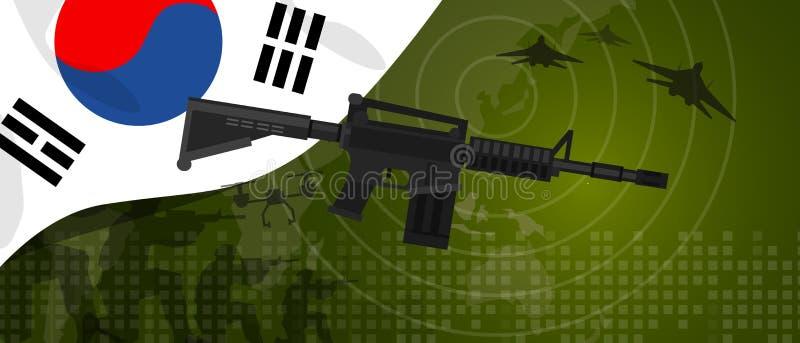 Beröm för landet för kriget och för kampen för försvarsindustri för armé Sydkorea för militär makt tjäna som soldat nationell med royaltyfri illustrationer
