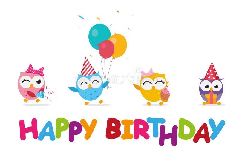 Beröm för lycklig födelsedag med den gulliga ugglan stock illustrationer