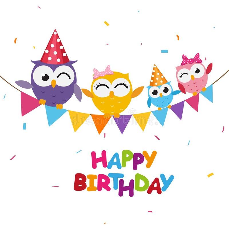 Beröm för lycklig födelsedag med den gulliga ugglan royaltyfri illustrationer