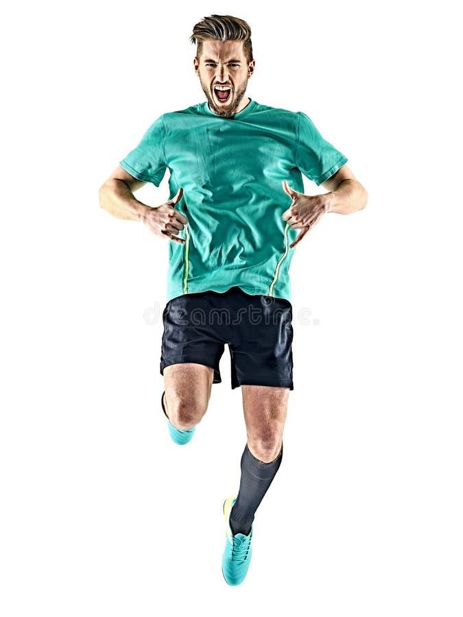 Beröm för man för fotbollspelare isolerad lycklig arkivfoton