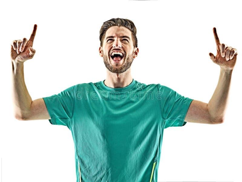 Beröm för man för fotbollspelare isolerad lycklig arkivbild