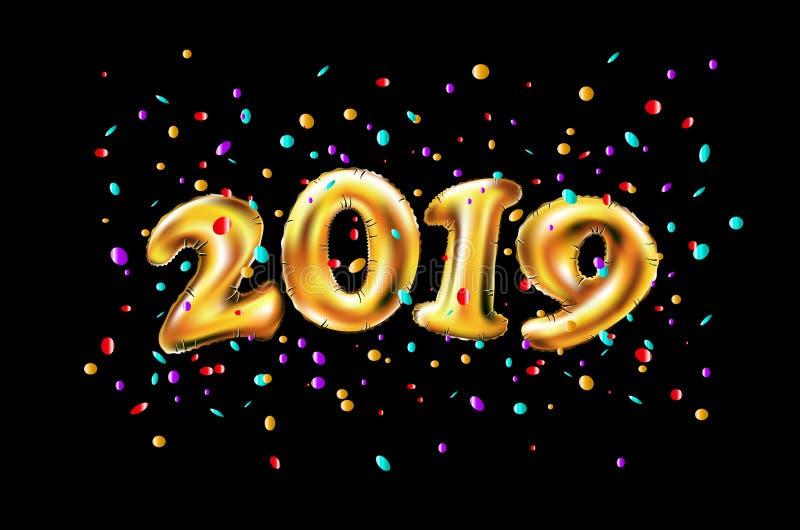 Beröm 2019 för nytt år för vektor Ballongtal 2019 för guld- folie och på svart väggbakgrund framförande 3d vektor illustrationer