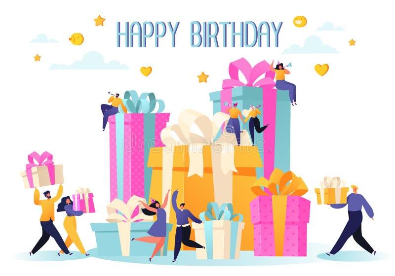 Beröm för parti för lycklig födelsedag med vänner Folket bär gåvor, och en stor kaka, blåser deras visslingar, att dansa och fira stock illustrationer