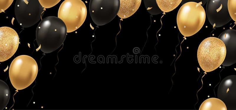 Beröm festivalbakgrund med den guld- och svarta realistiska vektorn som 3d flyger ballonger stock illustrationer