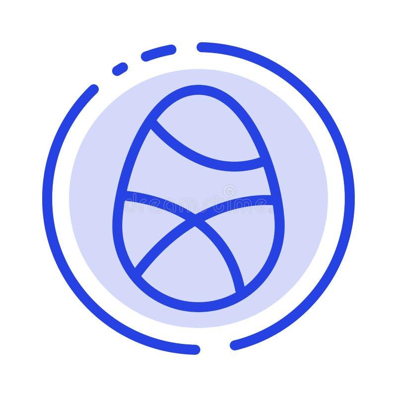 Beröm garnering, påsk, ägg, blå prickig linje linje symbol för ferie vektor illustrationer