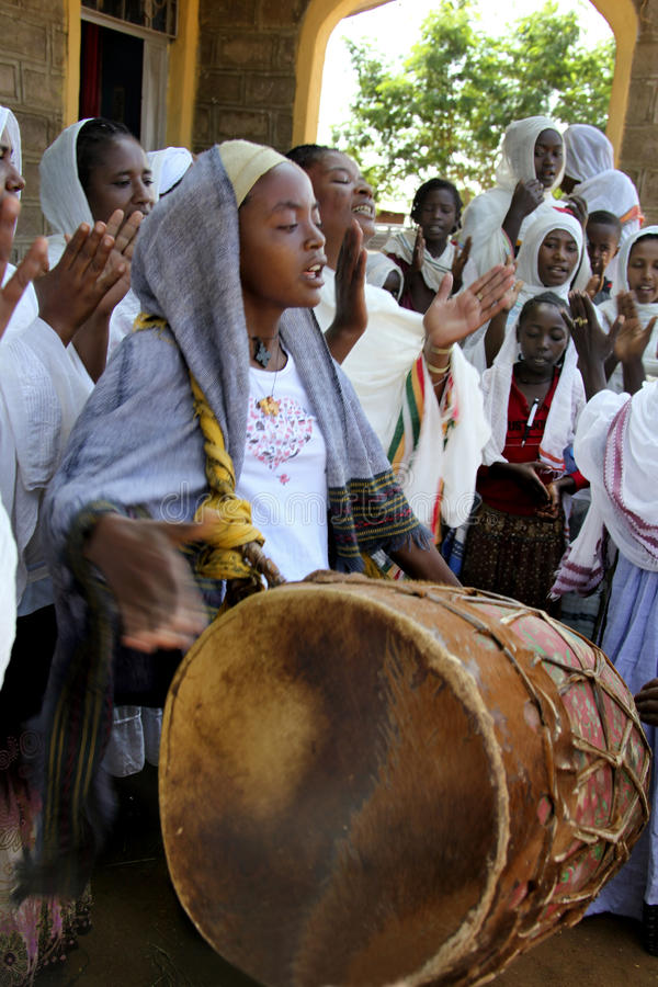 Beröm i ortodox ethiopian kristen kyrka arkivfoton