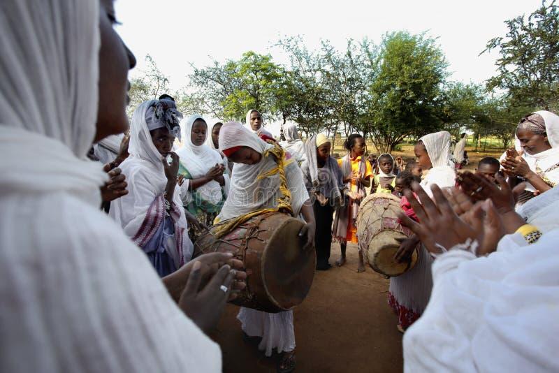 Beröm i ortodox ethiopian kristen kyrka arkivfoto