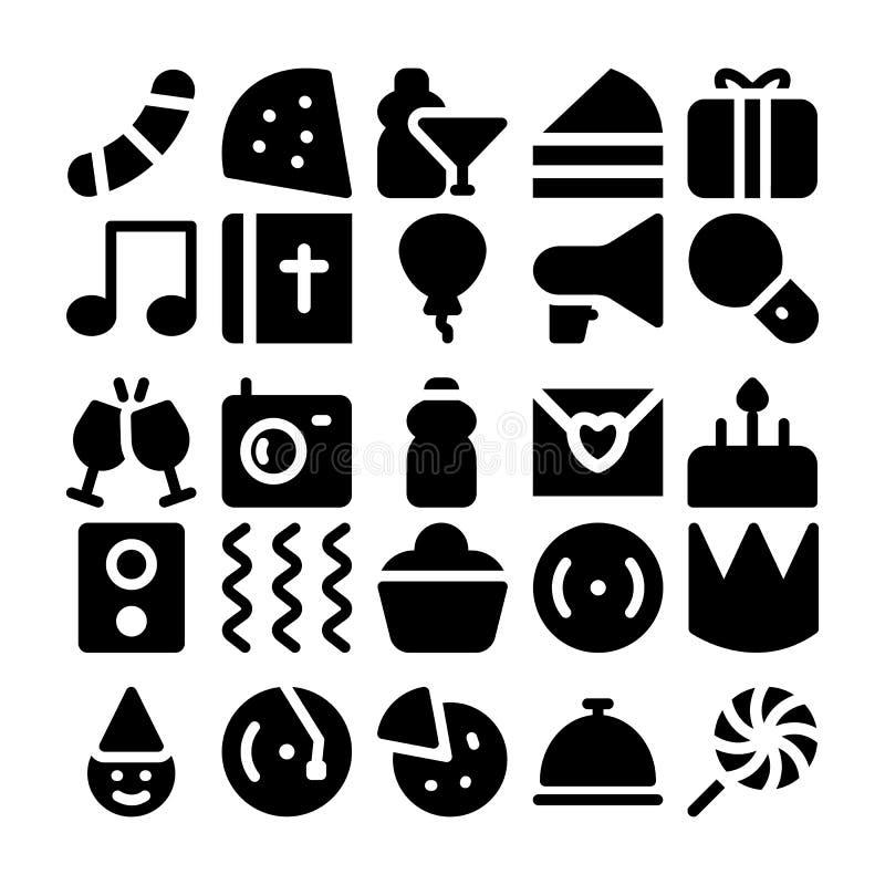 Beröm- och partivektorsymboler 7 royaltyfri illustrationer