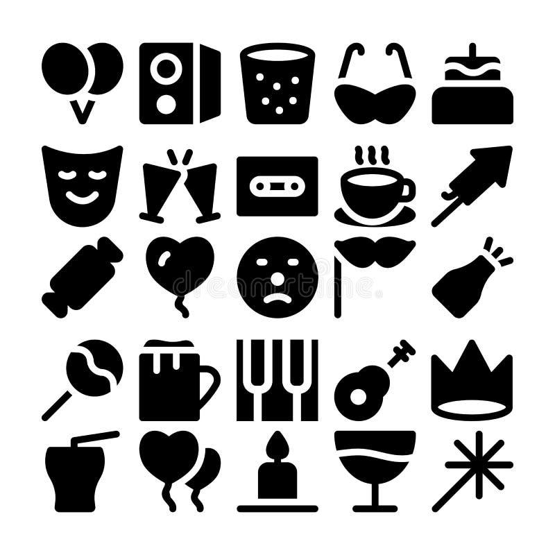 Beröm- och partivektorsymboler 8 royaltyfri illustrationer