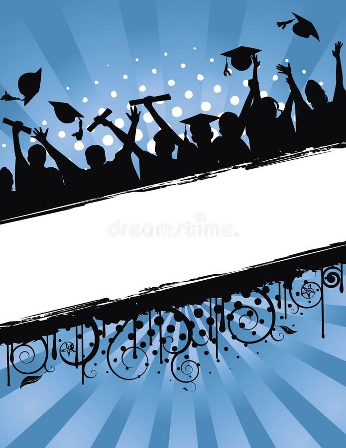 berömavläggande av examengrunge stock illustrationer