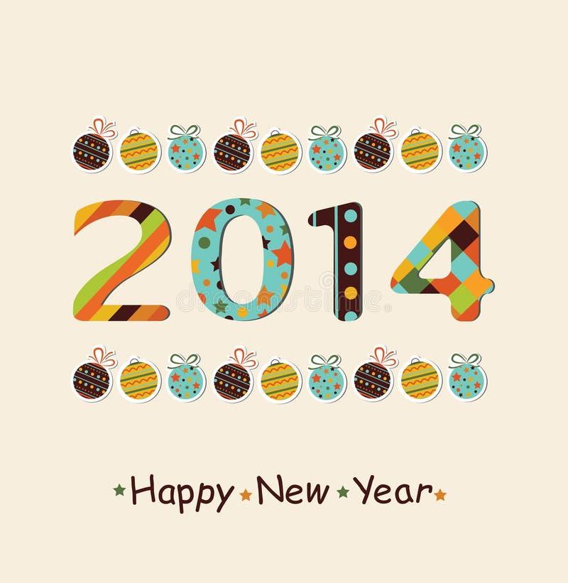 Berömbakgrund 2014 för lyckligt nytt år. royaltyfri illustrationer
