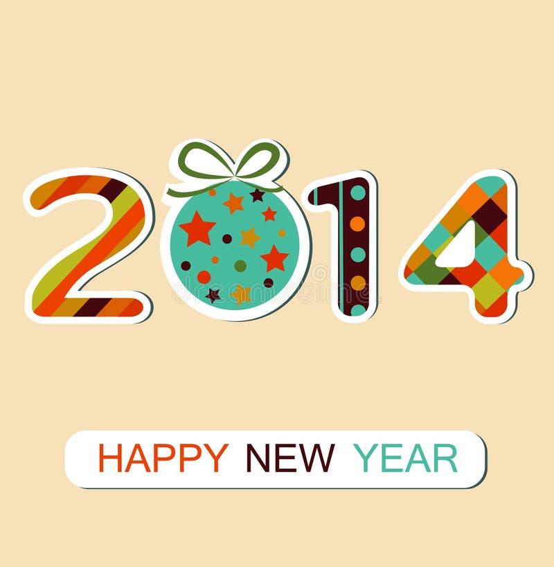 Berömbakgrund 2014 för lyckligt nytt år. Vektor stock illustrationer