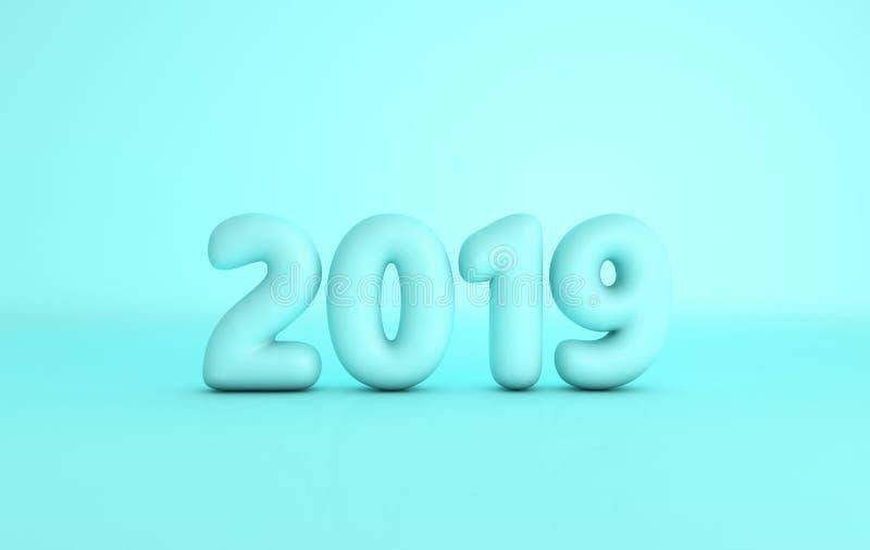 Berömbakgrund 2019 för nytt år Numerisk Matt plast- turkos royaltyfri illustrationer