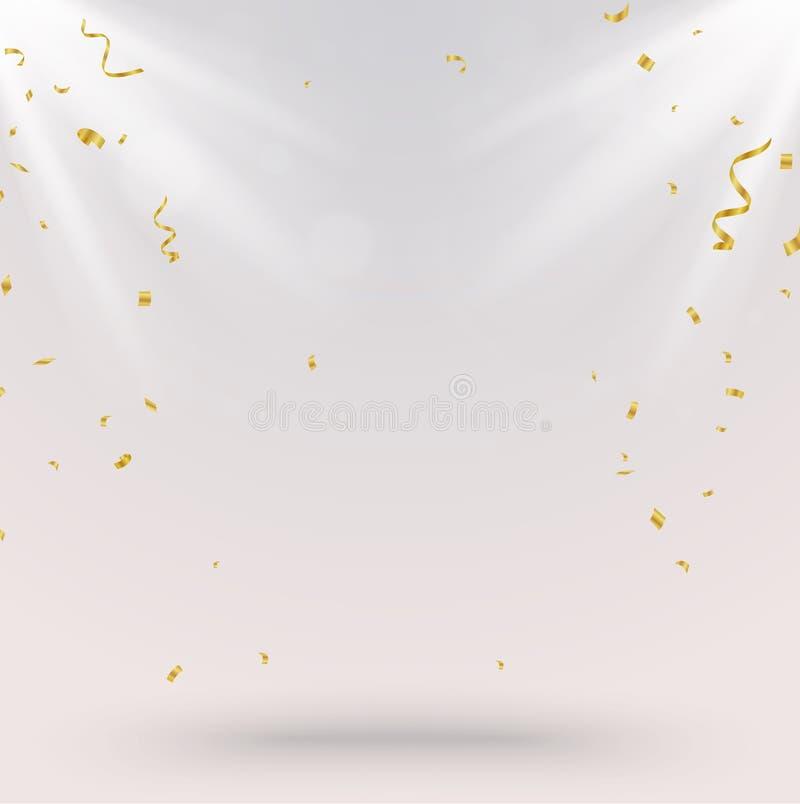 Berömbakgrund med guld- konfettier och ljus royaltyfri illustrationer