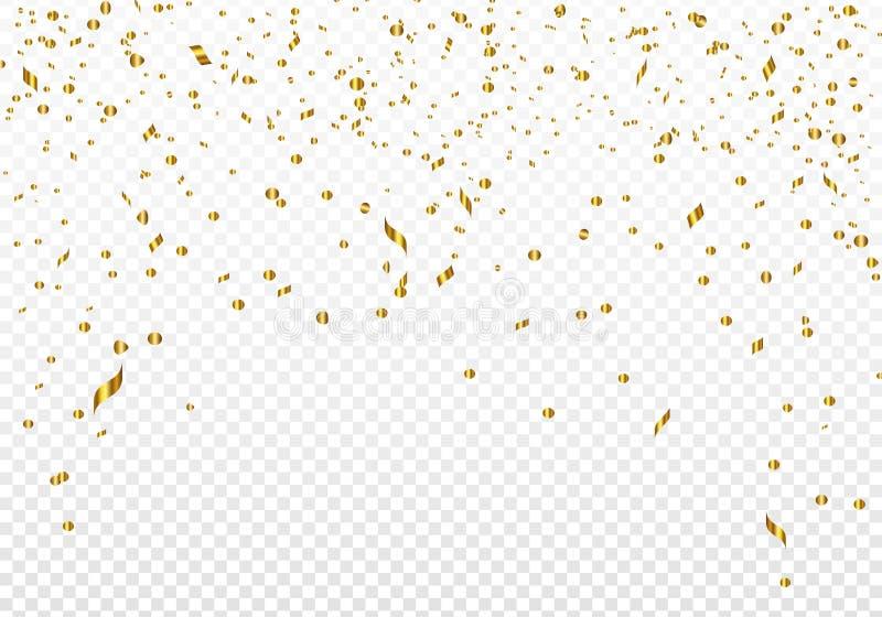 Berömbakgrundsmall med guld- konfettier också vektor för coreldrawillustration stock illustrationer