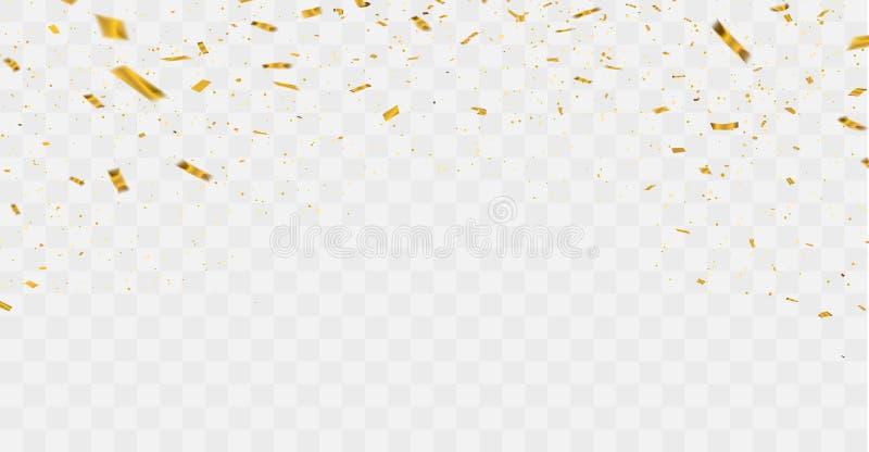 Berömbakgrundsmall med konfetti- och guldband lyxigt hälsningrichkort royaltyfri illustrationer