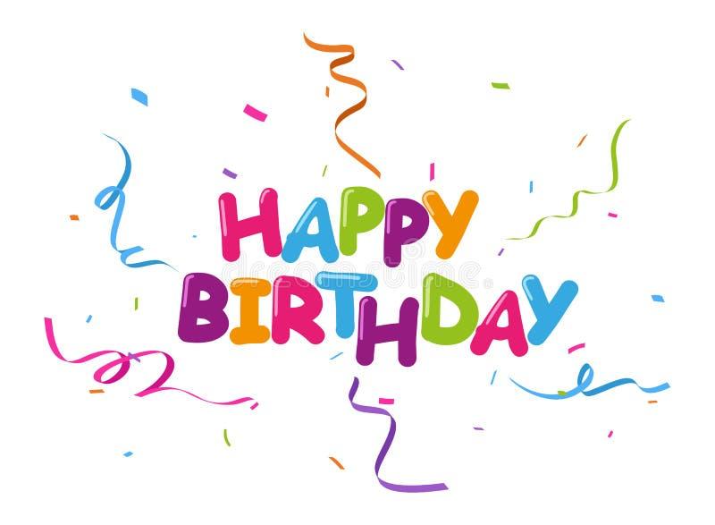 Berömbckground för lycklig födelsedag med färgrika konfettier stock illustrationer