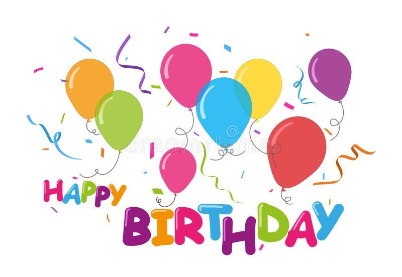 Berömbckground för lycklig födelsedag med färgrika konfettier vektor illustrationer