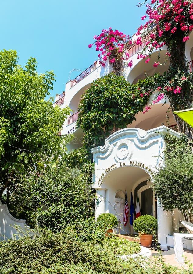 Berömd ö av Capri i Italien och det berömt royaltyfria bilder