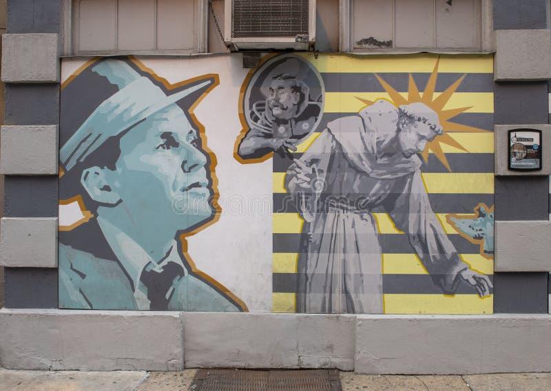 Berömd öppenhjärtig` för ` av David McShane, på yttersida av Dirty öppenhjärtigar, Philadelphia arkivbild