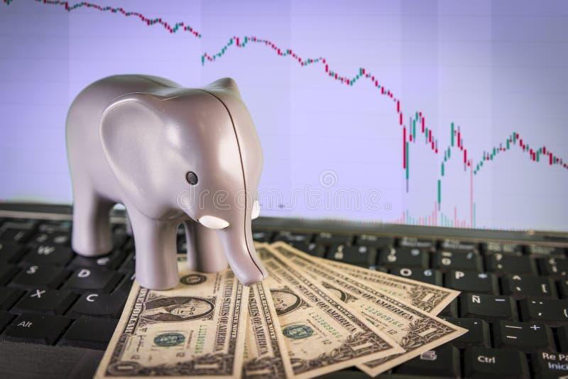 Berömd affärsmanmetafor för elefant VIX arkivbild