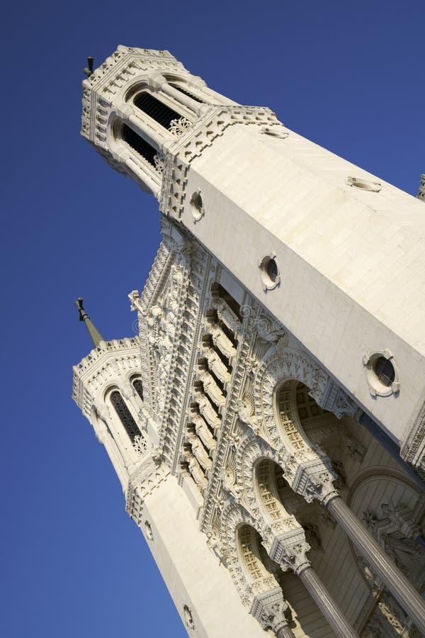 Berömd basilika av Notre-Dame de Fourviere, Lyon arkivbilder