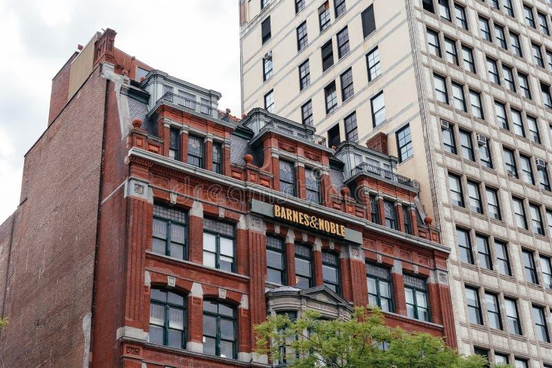 Berömd bokhandel i New York City arkivbild