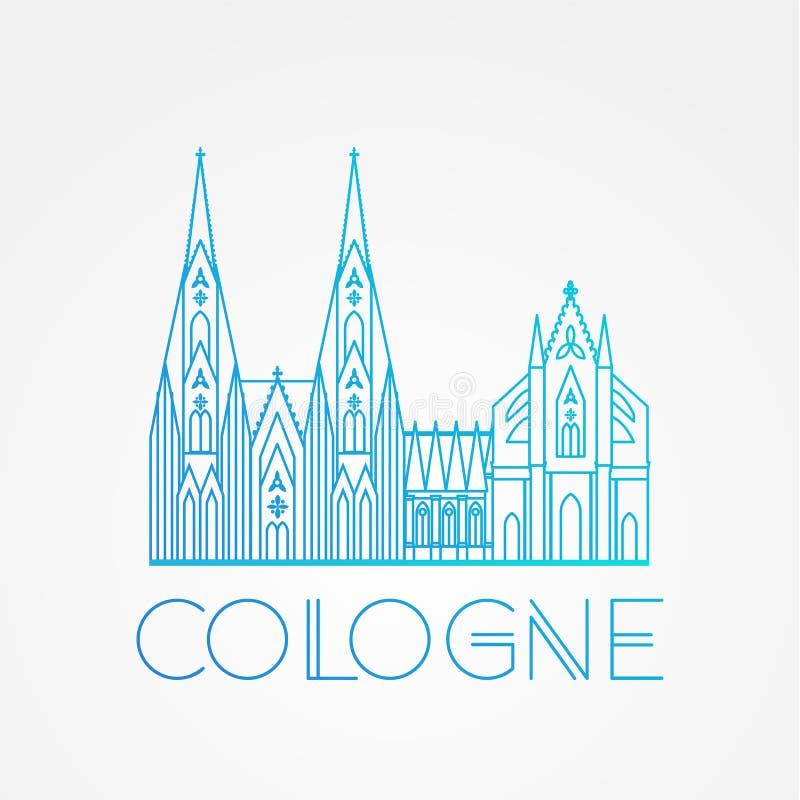 Berömd Cologne för värld domkyrka Störst gränsmärken av Europa Linjär vektorsymbol för den Koln Tyskland stock illustrationer