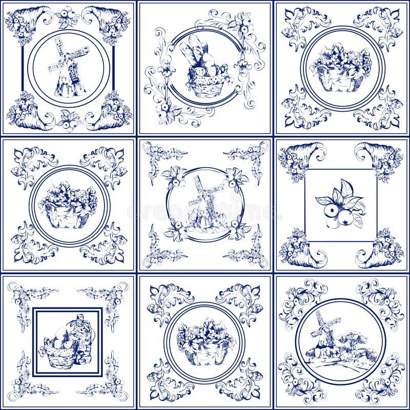 Berömd delftfajansblått belägger med tegel symbolssamlingen vektor illustrationer