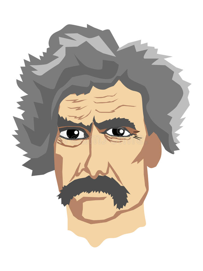 Berömd författare Mark Twain royaltyfri illustrationer