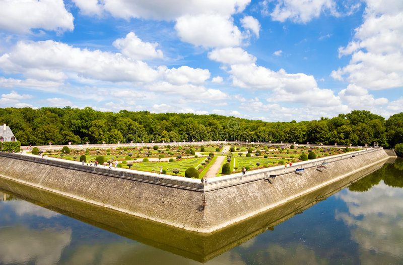 berömd france för chenonceaux park arkivfoton