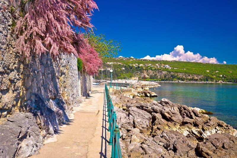 Berömd gångbana för Lungomare kust i Opatija arkivbilder