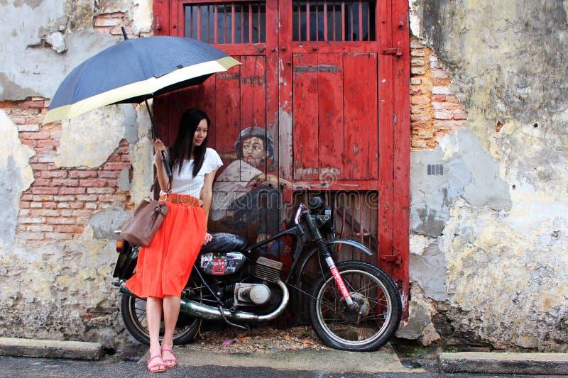 Berömd gata Art Mural i George Town, Penang, Malaysia arkivbilder