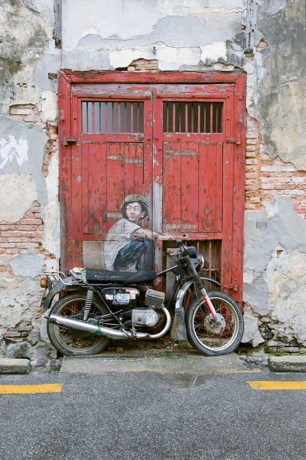 Berömd gata Art Mural i George Town, plats för Penang Unesco-arv, Malaysia royaltyfri fotografi