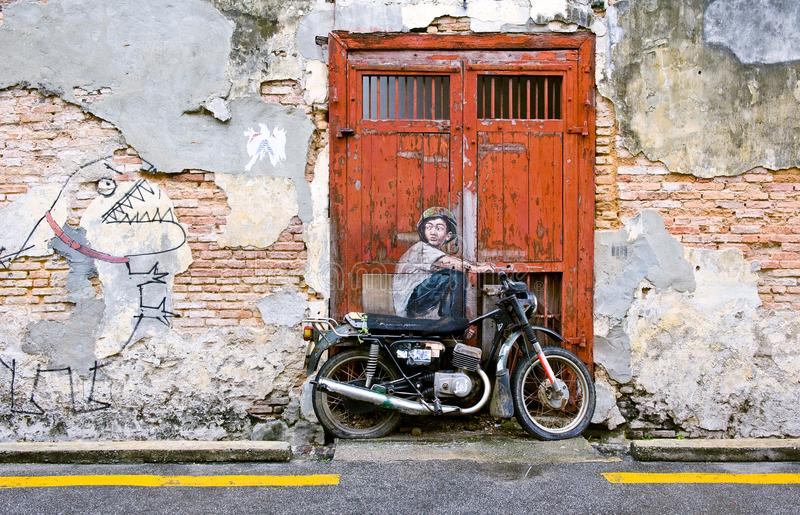 Berömd gata Art Mural i George Town, plats för Penang Unesco-arv, Malaysia royaltyfri foto