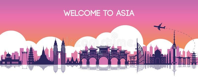 Berömd gränsmärke av Asien, loppdestination, konturdesign, pur royaltyfri illustrationer