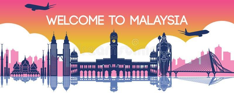 Berömd gränsmärke av Malaysia, loppdestination, konturdesign stock illustrationer