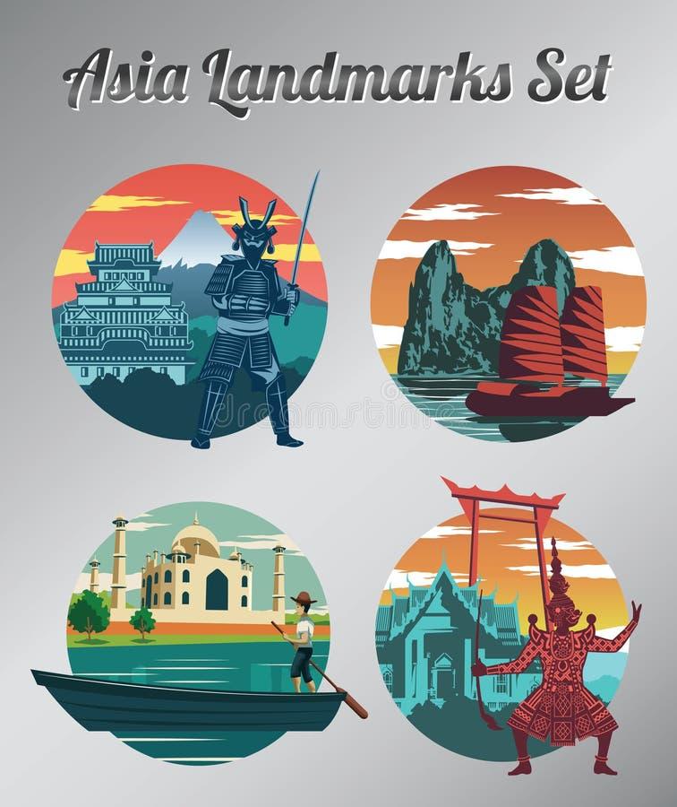 Berömd gränsmärke och symbol av Thailand, Japan, Vietnam och Indien f stock illustrationer