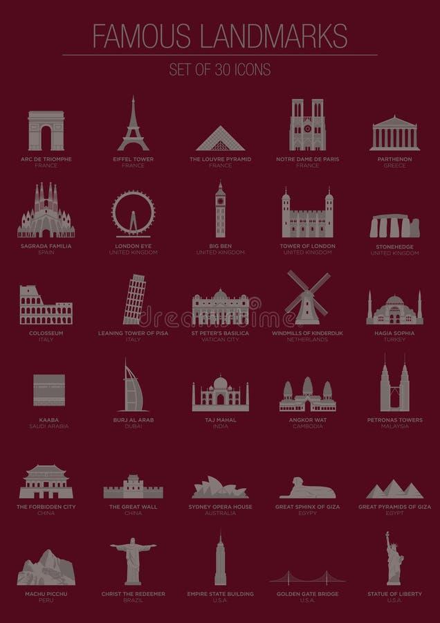 Berömd gränsmärkeuppsättning royaltyfri illustrationer