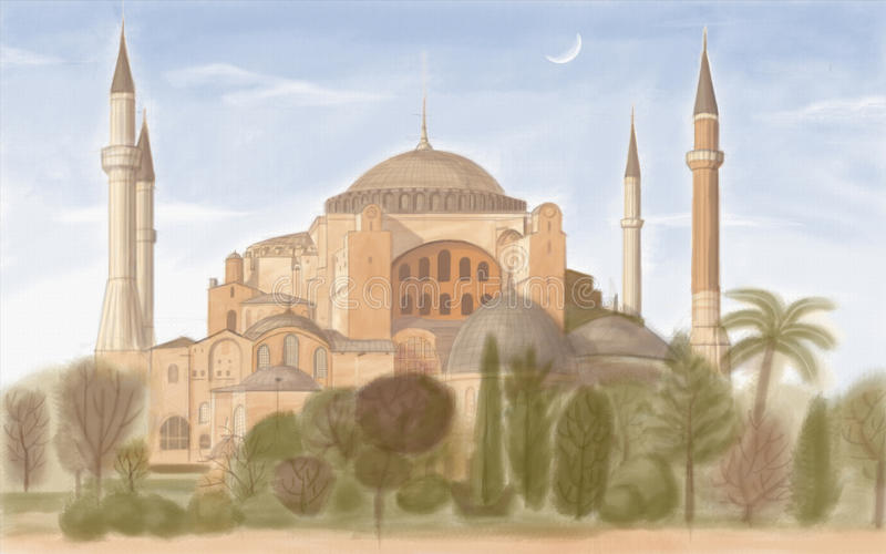 berömd hagiaistanbul sophia vektor illustrationer