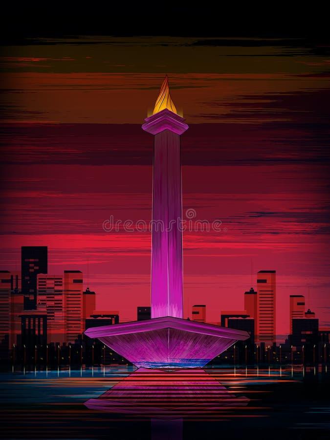 Berömd historisk monument för Monas värld av Jakarta, Indonesien stock illustrationer