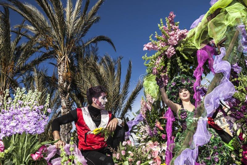 Berömd karneval av Nice, blomma`-strid Denna är huvudvinterhändelsen av Rivieraen arkivfoto