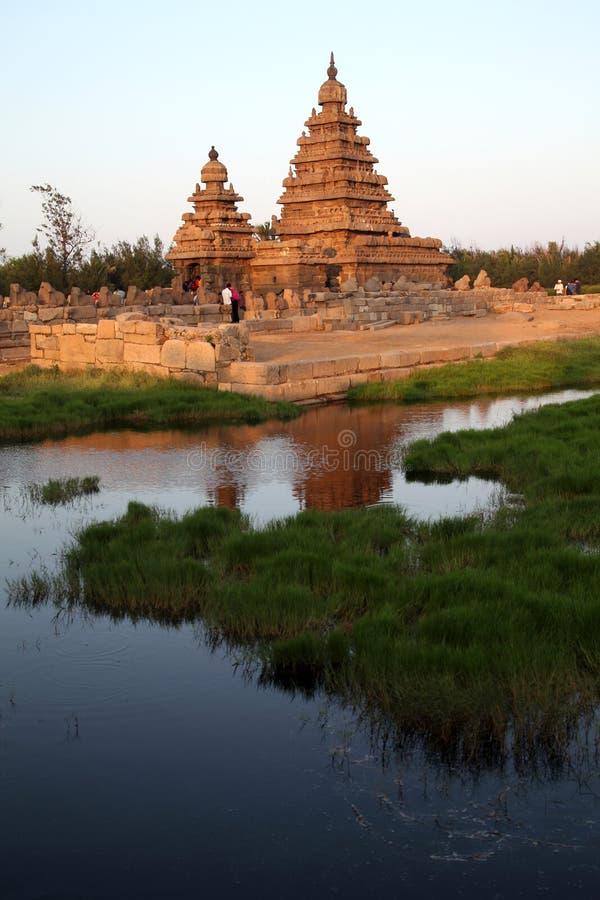 Berömd kusttempel Mahabalipuram, Tamil Nadu, Indien arkivfoto