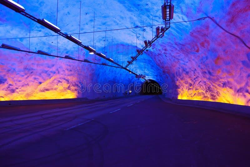 Berömd Laerdal tunnel i Norge arkivbild