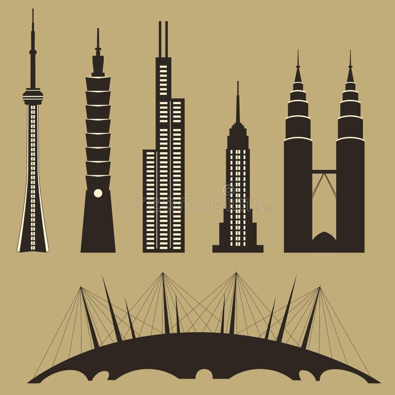 berömd landmarksvärld vektor illustrationer