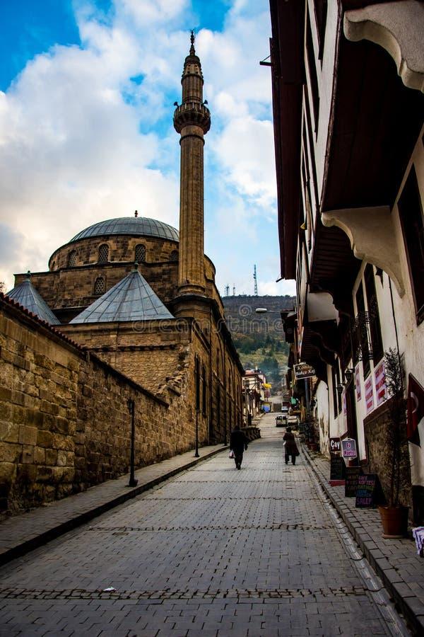 Berömd Mevlevi moské i gatan av Afyon royaltyfria bilder