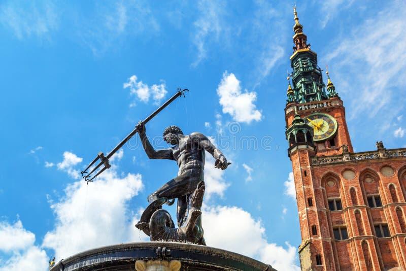 Berömd Neptunspringbrunn, symbolet av Gdansk royaltyfri foto