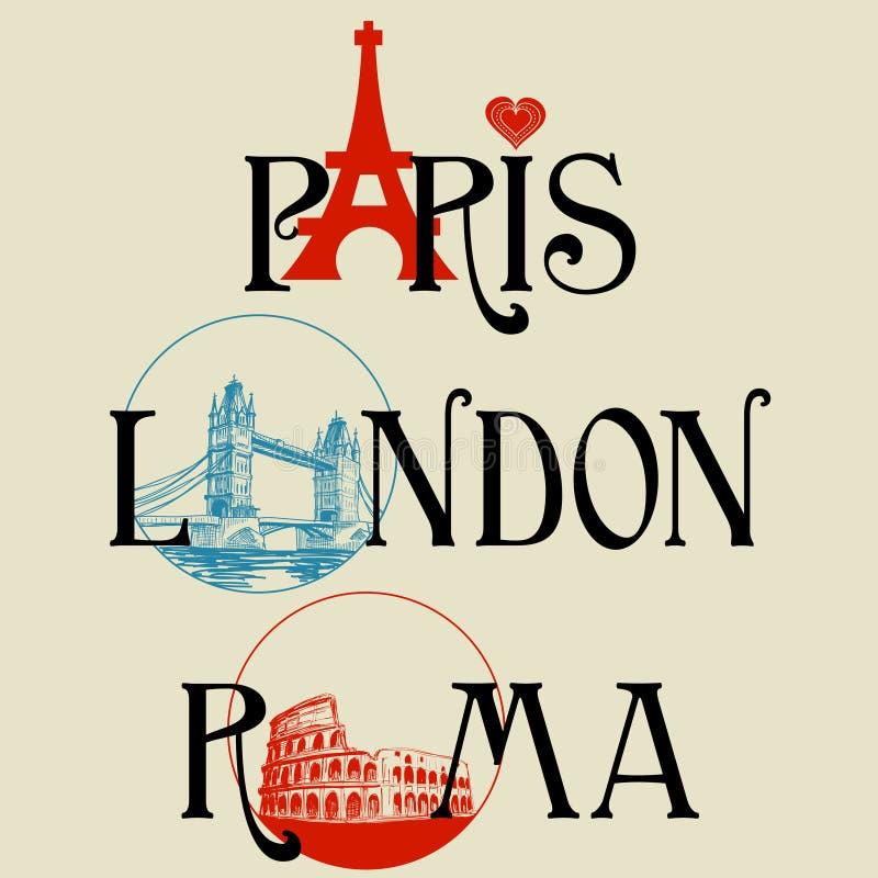 berömd rubrik för städer stock illustrationer